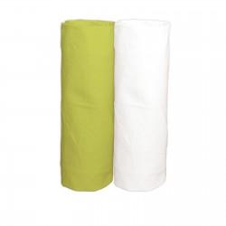 Vert et Blanc / Lot de 2 Draps Housse - 100% Coton linge de lit pour bébé