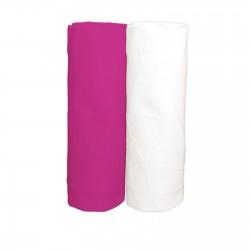 Cyclamen et Blanc / Lot de 2 Draps Housse - 100% Coton linge de lit pour bébé
