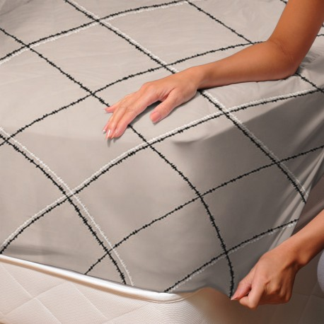Square (Monna) - Fitted Sheet / 100% Cotton Bedding