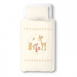 Baby Deer & Friends Party - 100% Cotton Cot / Crib Set (Duvet Cover & Pillow Case)