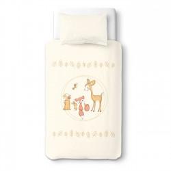 Deer and friends (Cervi e amici) - 100% Cotone Biancheria per culle e lettini bambino (Copripiumino e Federa)