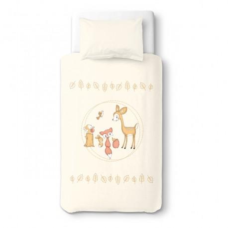 Le faon et ses amis à la fête - 100% Coton parure de lit pour bébé (Housse de couette et Taie d'oreiller)