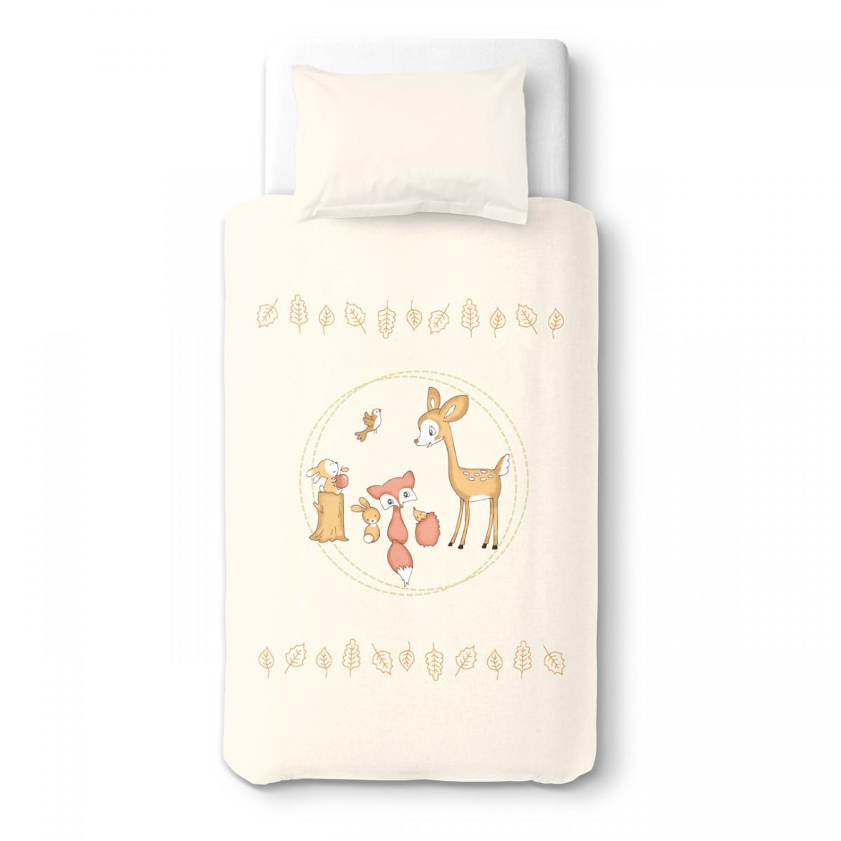 Le faon et ses amis la f te 100 coton parure de lit for Housse de couette lit bebe