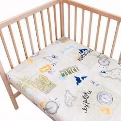Le voyage / Lot de 2 Draps Housse - 100% Coton linge de lit pour bébé