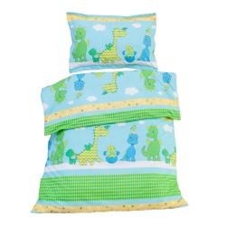 Les Dinosaures joyeux - 100% Coton parure de lit pour bébé (Housse de couette et Taie d'oreiller)