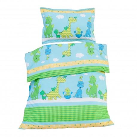 Весели Динозаври - 100% памук бебешки спален комплект (торба и калъфка)
