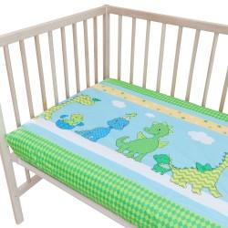 Весели динозаври - Комплект 2 бр. чаршаф с ластик за бебе/ 100% Памук