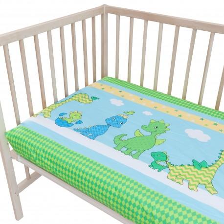 Les dinosaures joyeux lot de 2 draps housse 100 coton linge de lit pour b b et enfant - Linge de lit pour enfant ...