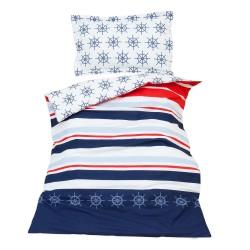 Нейви - 100% памук бебешки спален комплект (торба и калъфка)