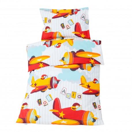 Aviator planes 100 coton parure de lit pour b b for Housse de couette lit bebe