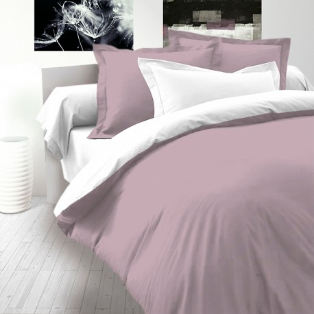 Ash Pink & White - Cotton SATEEN Bed Linen Set (Reversible Duvet Cover & Pillow Cases)