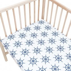Baby Navy Blue / Pack of 2 Fitted Sheet - 100% Cotton Cot / Crib Bedding