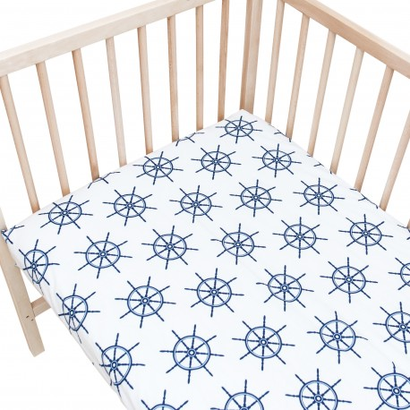 Baby Navy Bleu / Lot de 2 Draps Housse - 100% Coton linge de lit pour bébé