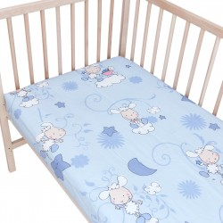 Baby Lambs (Blue) / Pack of 2 Fitted Sheet - 100% Cotton Cot / Crib Bedding