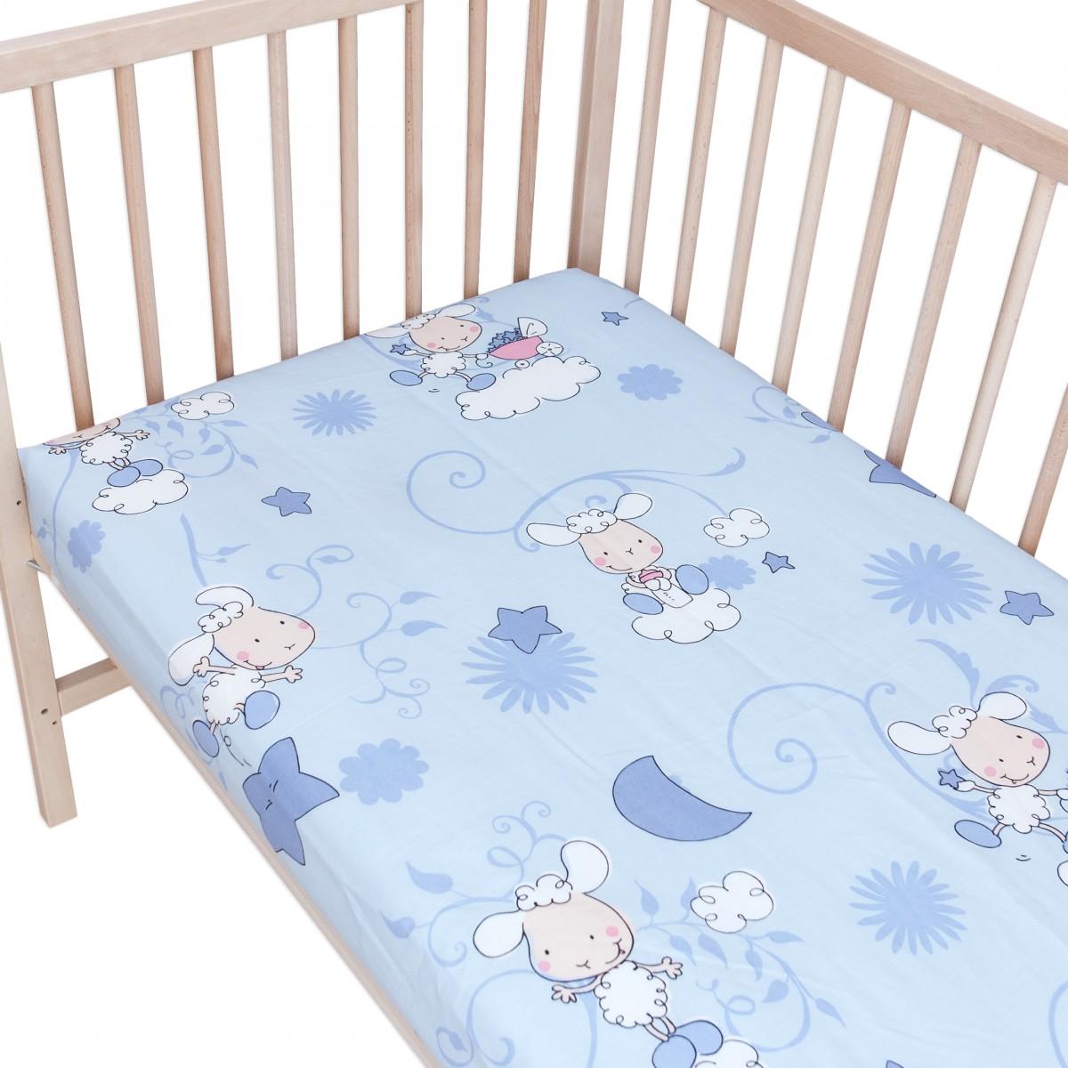 les agneaux bleu lot de 2 draps housse 100 coton linge de lit pour b b et enafant. Black Bedroom Furniture Sets. Home Design Ideas