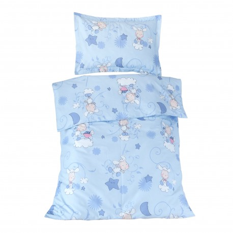 Les agneaux (Bleu) - 100% Coton parure de lit pour bébé (Housse de couette et Taie d'oreiller)