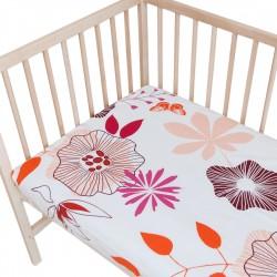 Цветя (Кокона) - Комплект 2 бр. чаршаф с ластик за бебе/ 100% Памук