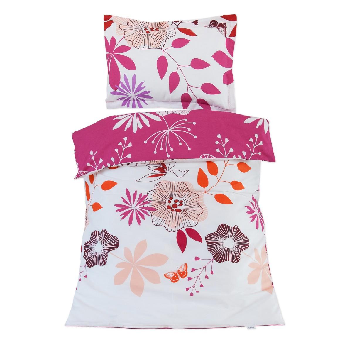 Les fleurs coquettes 100 coton parure de lit pour b b for Housse de couette lit bebe