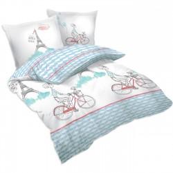 Париж с колело - 100% памук спален комплект (плик и калъфки), многоцветен