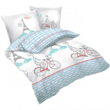 paris bicyclette parure de lit 100 coton housse de couette et taies d 39 oreiller soulbedroom. Black Bedroom Furniture Sets. Home Design Ideas