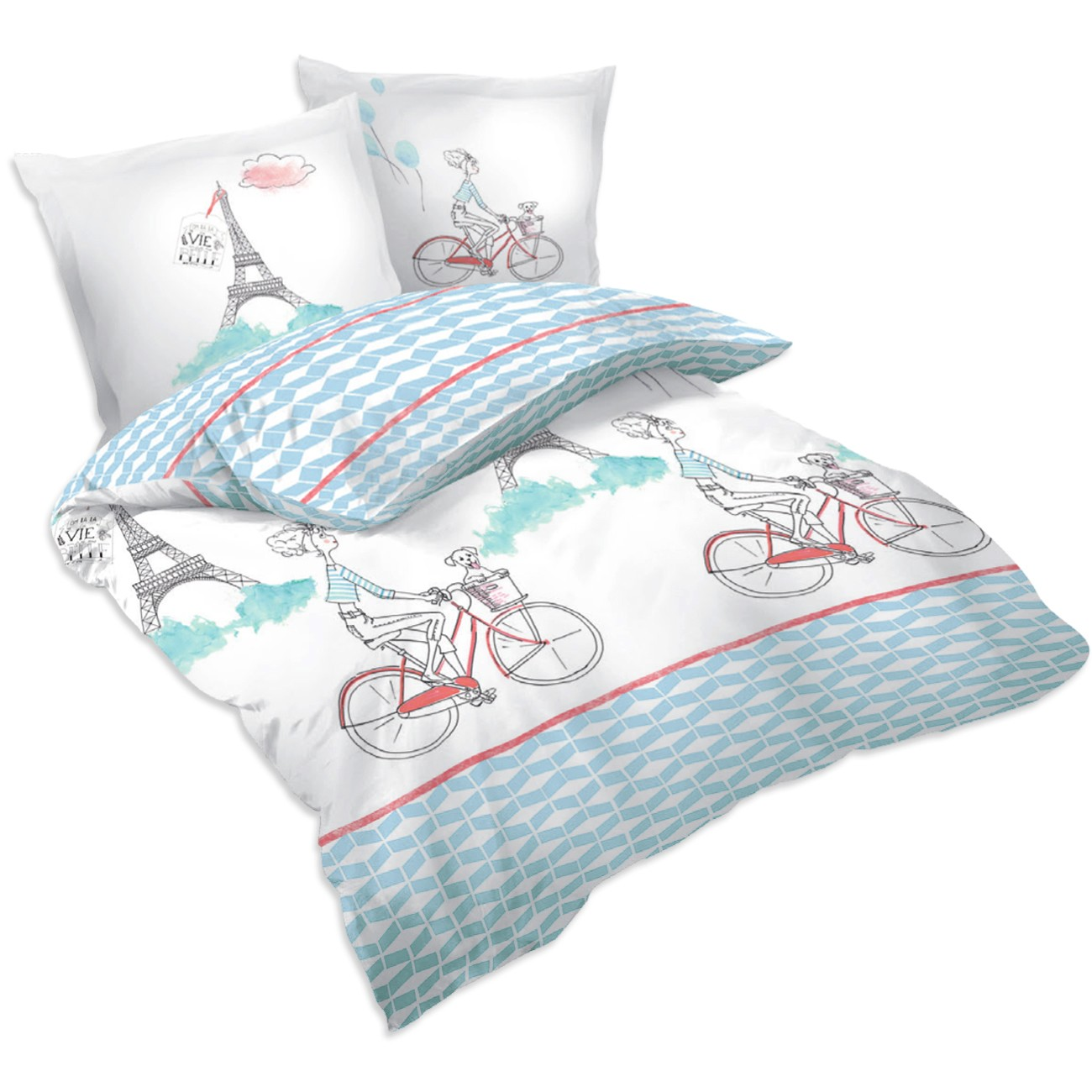 paris bicyclette parure de lit 100 coton housse de. Black Bedroom Furniture Sets. Home Design Ideas