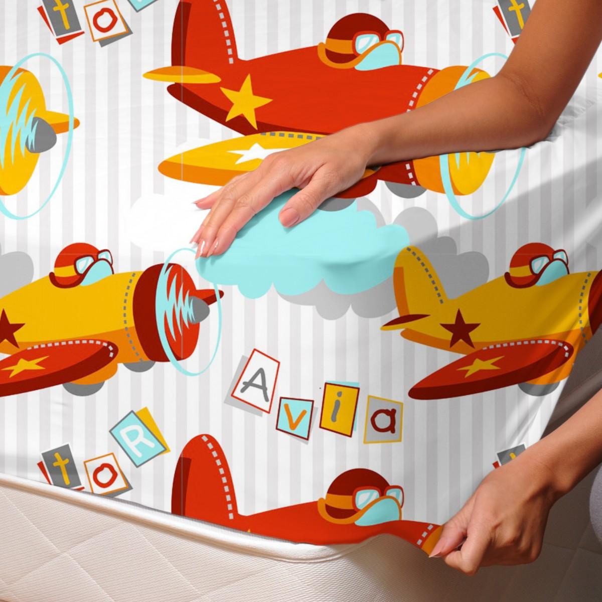 drap housse planes Aviator / Planes   Drap Housse / 100% Coton Linge de Lit   SoulBedroom drap housse planes