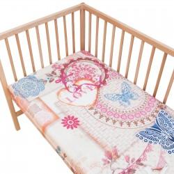 Vintage Love / Lot de 2 Draps Housse - 100% Coton linge de lit pour bébé et enfant