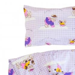 Ourson et ses Amis - 100% Coton parure de lit pour bébé (Housse de couette et Taie d'oreiller)