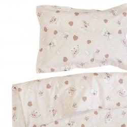 Агънце и зайче - 100% памук бебешки спален комплект (торба и калъфка)