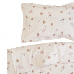 Lamb and rabbit - 100% cotton cot / crib baby set (duvet cover and pillow case)