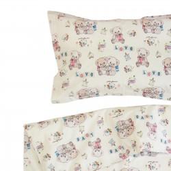 Nounours - 100% Coton parure de lit pour bébé (Housse de couette et Taie d'oreiller)