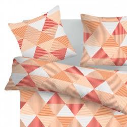 Arlette Orange - 100% Coton Parure de Lit (Housse de couette et Taies d'oreiller)