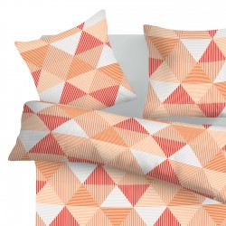 Arlette Orange - 100% Cotton Bed Linen Set (Duvet Cover & Pillow Cases)