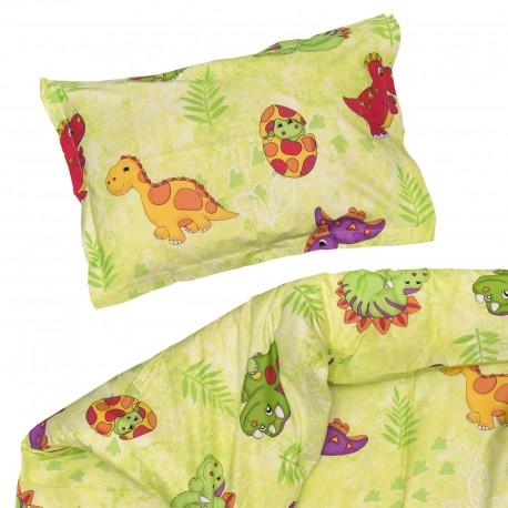 Les Dinosaures - 100% Coton parure de lit pour bébé (Housse de couette et Taie d'oreiller)