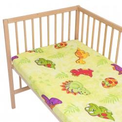 Les Dinosaures / Lot de 2 Draps Housse - 100% Coton linge de lit pour bébé et enafant