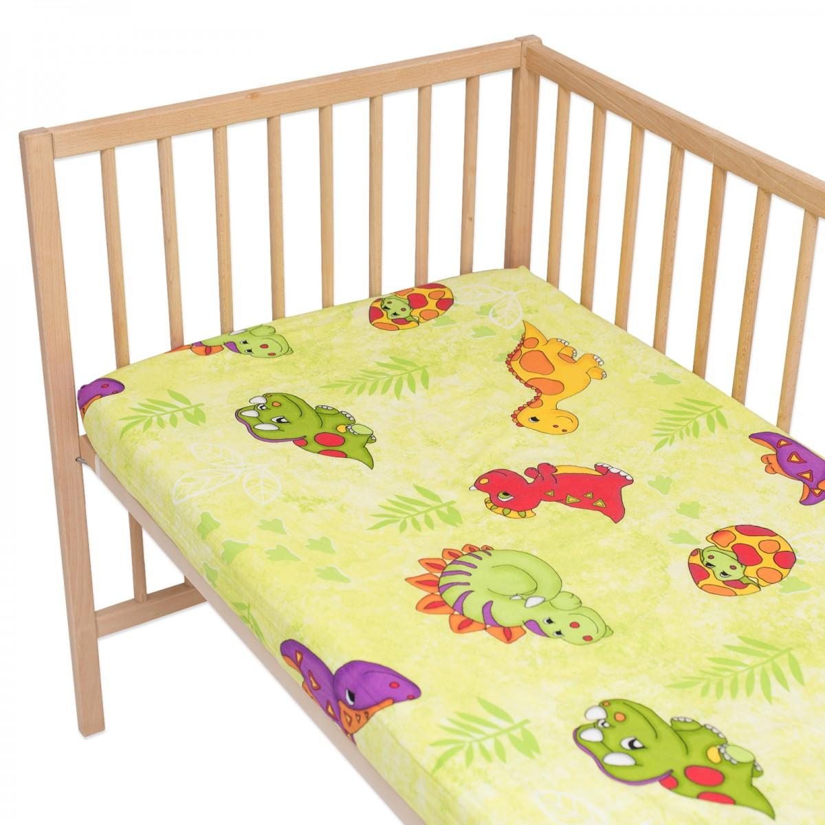 les dinosaures lot de 2 draps housse 100 coton linge de lit pour b b et enafant soulbedroom. Black Bedroom Furniture Sets. Home Design Ideas