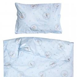 Мече и конче - 100% памук бебешки спален комплект (торба и калъфка)