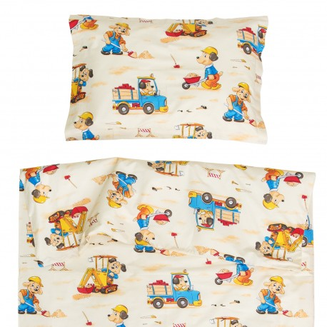 Dogs digging - 100% Cotton Cot / Crib Set (Duvet Cover & Pillow Case)