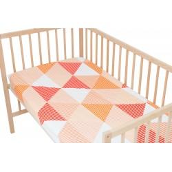 Arlette Orange / Lot de 2 Draps Housse - 100% Coton linge de lit pour bébé et enafant