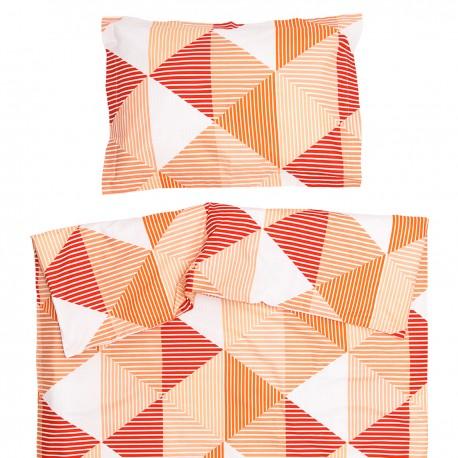 Arlette Orange - 100% Coton parure de lit pour bébé (Housse de couette et Taie d'oreiller)