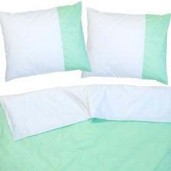Аква (Резеда) и Бяло -100% памук двулицев спален комплект (плик и калъфки)