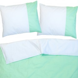 Aqua and White - 100% Cotton Reversible Bed Linen Set (Duvet Cover & Pillow Cases)