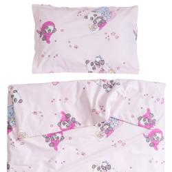Panda et ses amis - 100% Coton parure de lit pour bébé (Housse de couette et Taie d'oreiller)