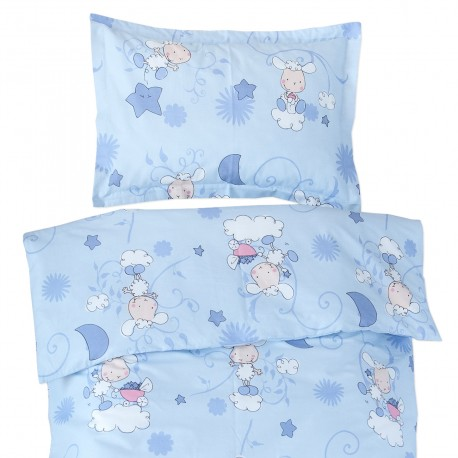 Baby Lambs (Blue) - 100% Cotton Cot / Crib Set (Duvet Cover & Pillow Case)