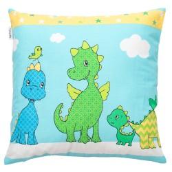 Dinosaures joyeux Pati'Chou coussin et 100% coton taie décoratif bébé et enfant