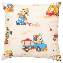 Chiens en camion et pelle bagger Pati'Chou coussin et 100% coton taie décoratif bébé et enfant