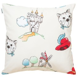 Tommy Cat in boots Pati'Chou cushion and 100% cotton cover decorative baby and kid