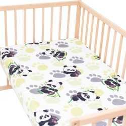 Bamboo panda Fitted Sheet Pati'Chou 100% Cotton animal pattern for baby and kid bed