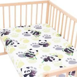 Панда с бамбук - Комплект 2 бр. чаршаф с ластик за бебе и деца / 100% Памук
