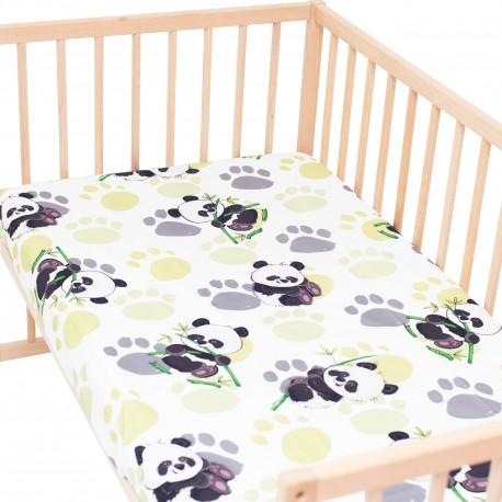 Bambou panda / Lot de 2 Draps Housse - 100% Coton linge de lit pour bébé et enafant